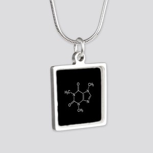 Caffeine Molecule Silver Square Necklace