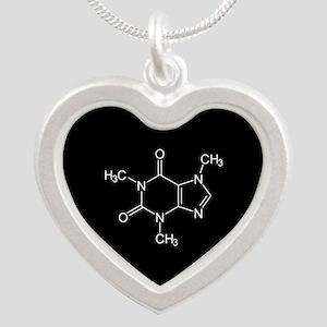 Caffeine Molecule Silver Heart Necklace