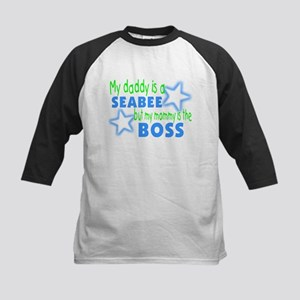 My daddy is a seabee but momm Kids Baseball Jersey