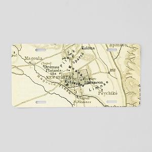 Vintage Map of Sparta Greec Aluminum License Plate