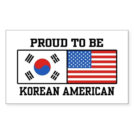 Korean American Rectangle Sticker