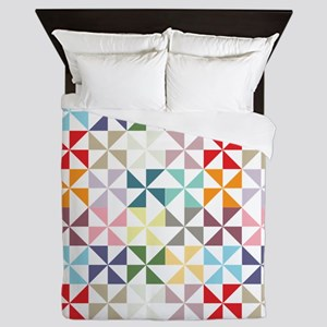 Colorful Geometric Pinwheel Queen Duvet