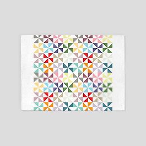 Colorful Geometric Pinwheel 5'x7'Area Rug