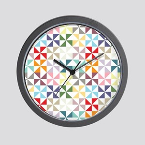 Colorful Geometric Pinwheel Wall Clock