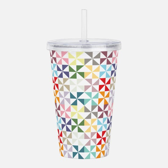 Colorful Geometric Pinwheel Acrylic Double-wall Tu