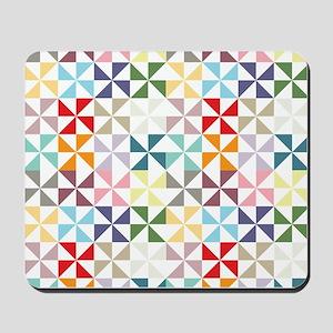 Colorful Geometric Pinwheel Mousepad