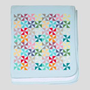 Colorful Geometric Pinwheel baby blanket