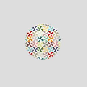 Colorful Geometric Pinwheel Mini Button