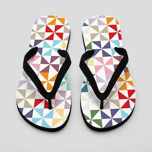 Colorful Geometric Pinwheel Flip Flops