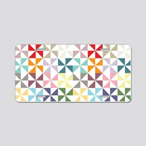 Colorful Geometric Pinwheel Aluminum License Plate