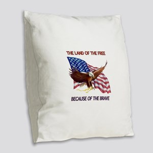 Land of the Free... Burlap Throw Pillow