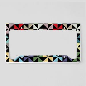 Colorful Pinwheels Black License Plate Holder
