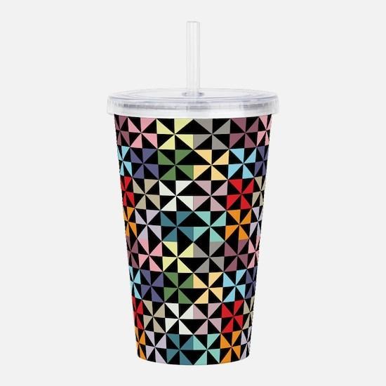 Colorful Pinwheels Black Acrylic Double-wall Tumbl