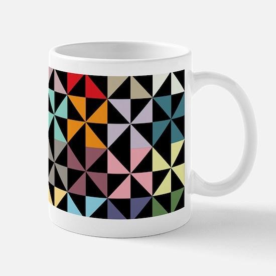 Colorful Pinwheels Black Mugs
