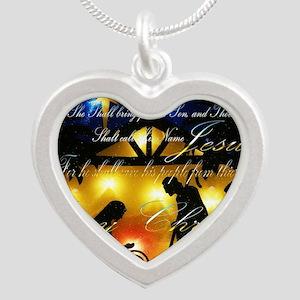 Baby Jesus Silver Heart Necklace
