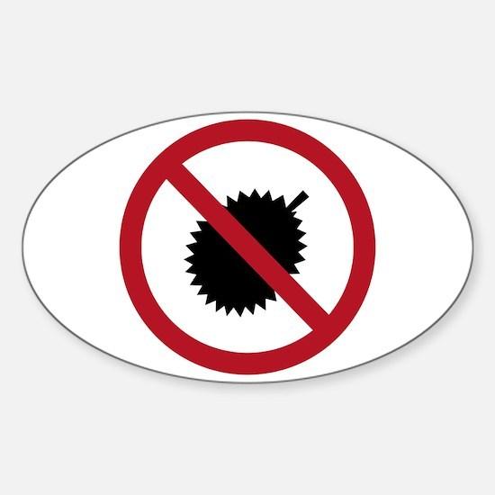 No Durians Sign, Singapore Sticker (Oval)