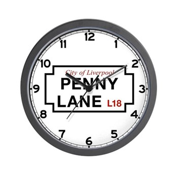 Penny Lane, Liverpool Street Sign, UK Wall Clock