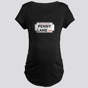 Penny Lane, Liverpool Stree Maternity Dark T-Shirt