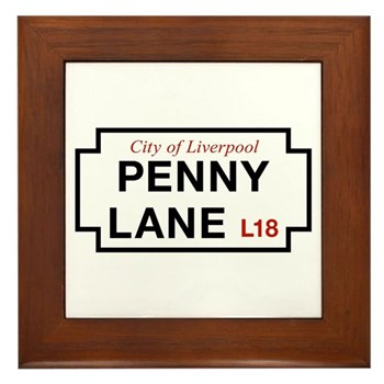 Penny Lane, Liverpool Street Sign, UK Framed Tile