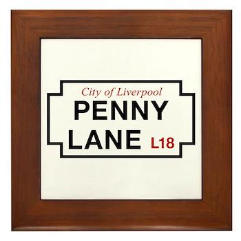 Penny Lane, Liverpool Street Sign, UK Framed Tile