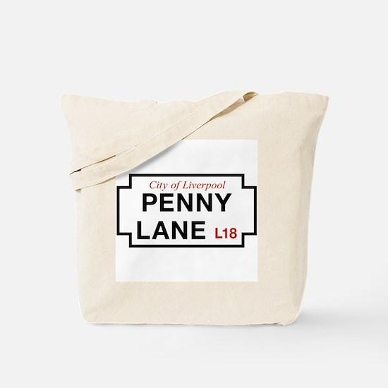 Penny Lane, Liverpool Street Sign, UK Tote Bag