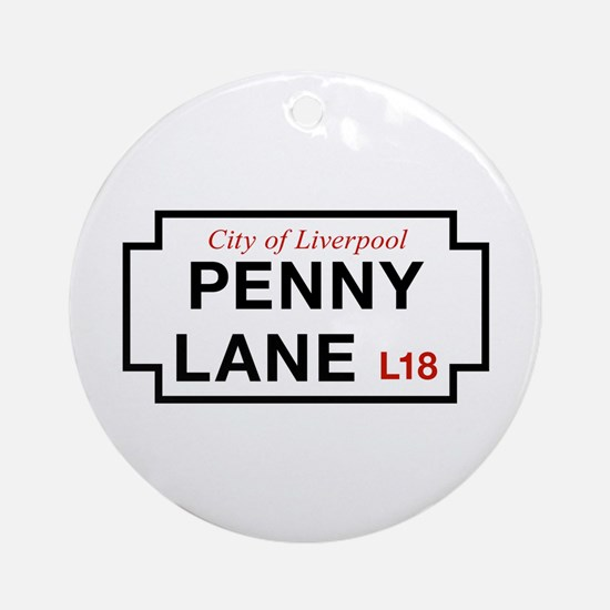 Penny Lane, Liverpool Street Sign Ornament (Round)