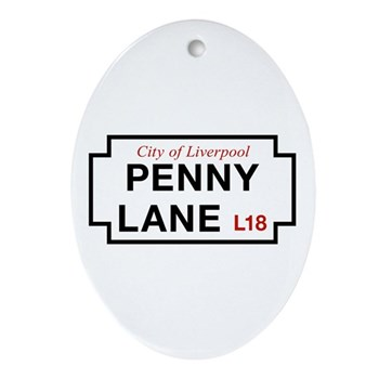 Penny Lane, Liverpool Street Sign, Ornament (Oval)