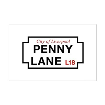 Penny Lane, Liverpool Street Sig Mini Poster Print