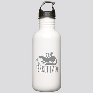 Crazy ferret lady Sports Water Bottle