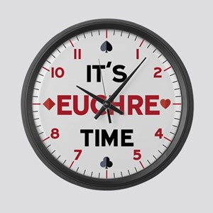 It's Euchre Time Large Wall Clock
