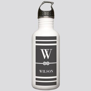 Gray and White Stripe Stainless Water Bottle 1.0L