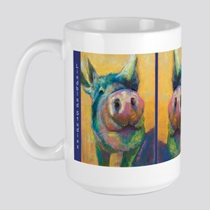 Whiskers, Pig Face Large Coffee Mugs