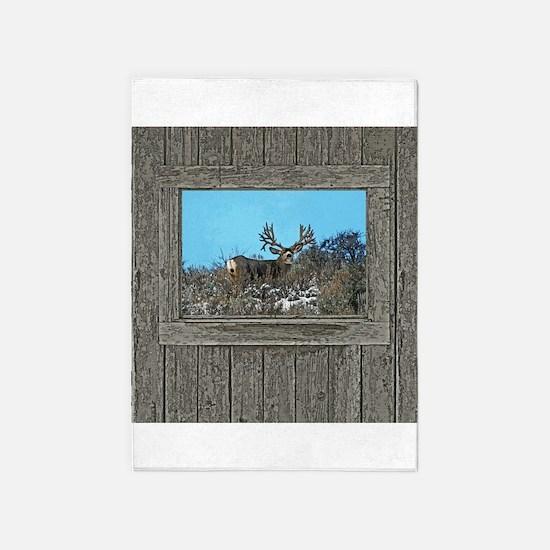 Old Cabin Window Monster buck 7 5'x7'Area Rug