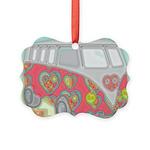 Hippie Van Glass Print Ornament