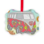 Hippie Van Glass Print Ornament