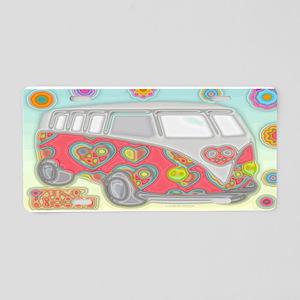 Hippie Van Glass Print Aluminum License Plate