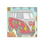 Hippie Van Glass Print Sticker