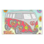 Hippie Van Glass Print Sticker