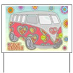 Hippie Van Glass Print Yard Sign