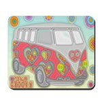 Hippie Van Glass Print Mousepad