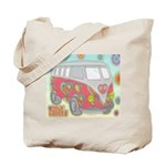Hippie Van Glass Print Tote Bag