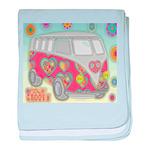 Hippie Van Glass Print baby blanket