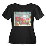 Hippie Van Glass Print Plus Size T-Shirt