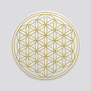 Flower Of Life Gold Ornament (round)