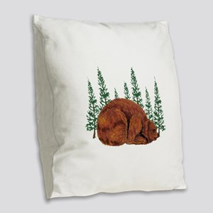 BEAR TIME Burlap Throw Pillow