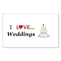 I Love Weddings Sticker (Rectangle)