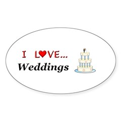 I Love Weddings Sticker (Oval)
