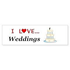 I Love Weddings Sticker (Bumper)