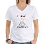I Love Weddings Women's V-Neck T-Shirt