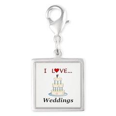 I Love Weddings Silver Square Charm